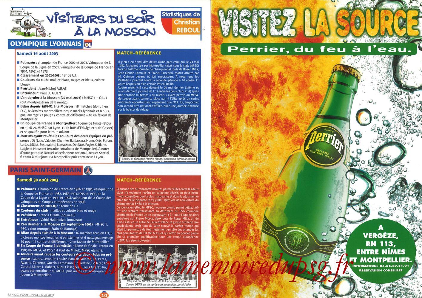 2003-08-30  Montpellier-PSG (5ème L1, MHSC Foot N°73) - Pages 10 et 11
