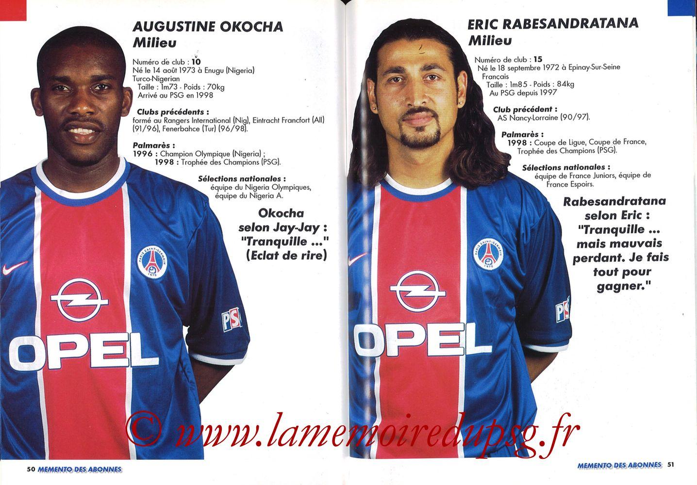 1999-00 - Guide de la Saison PSG - Pages 50 et 51