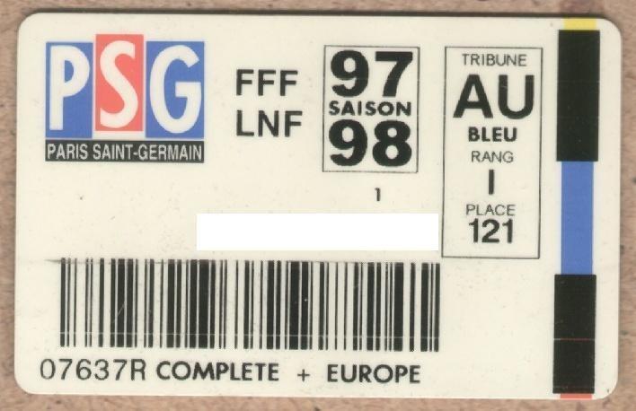 Carte d'abonné PSG 1997-98