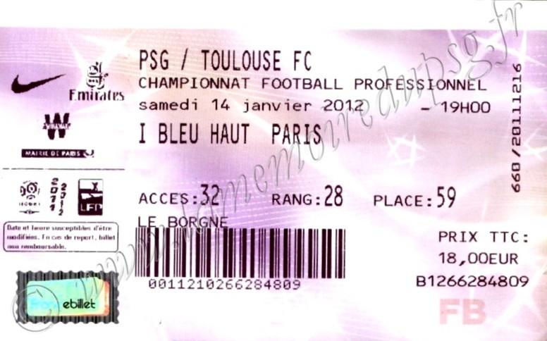 2012-01-14  PSG-Toulouse FC (20ème L1, Billetel)