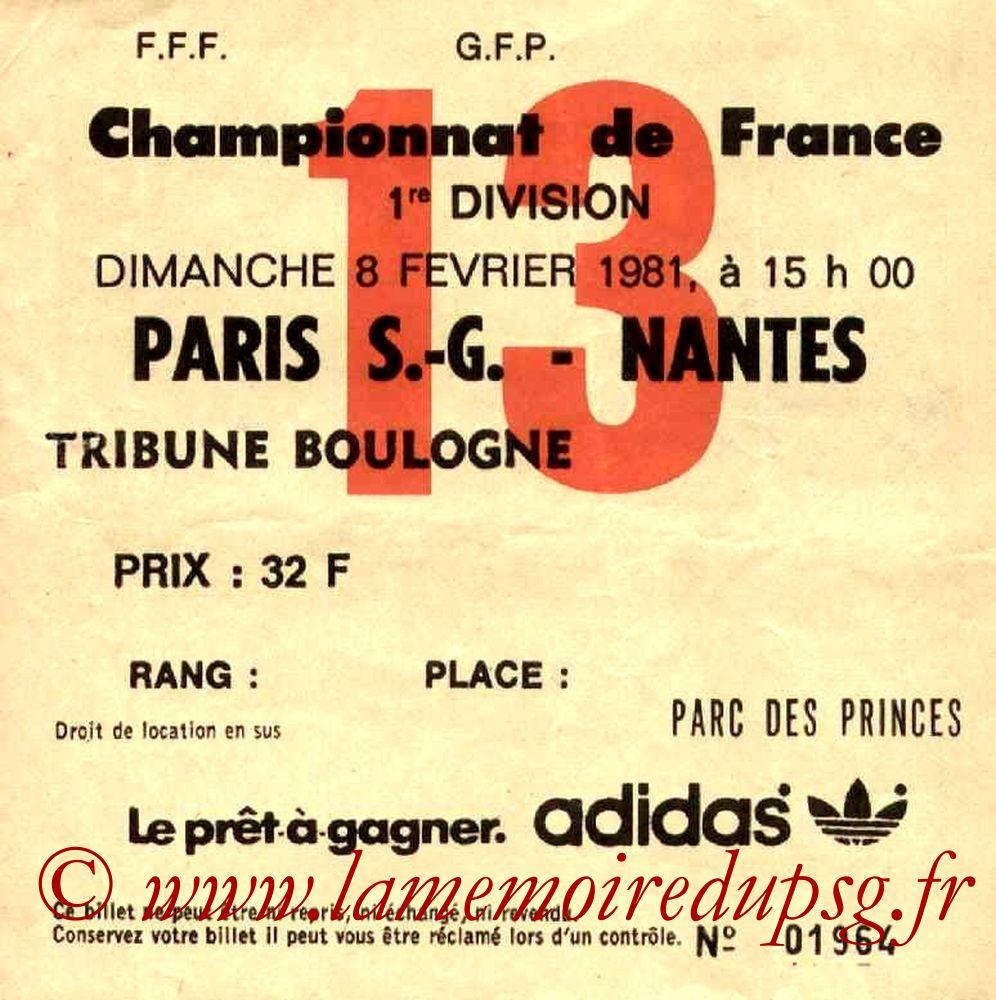 1981-02-08  PSG-Nantes (26ème D1, Ticket N°13)