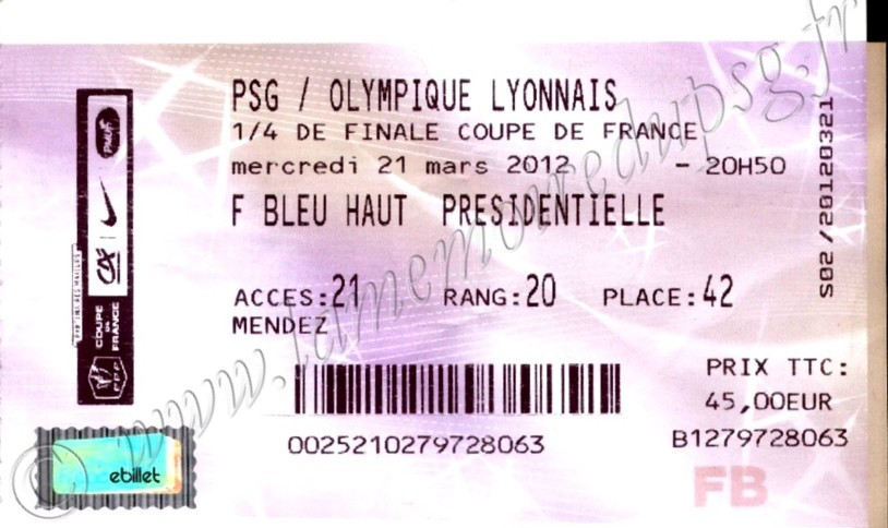 2012-03-21  PSG-Lyon (Quart Finale CF, Billetel)