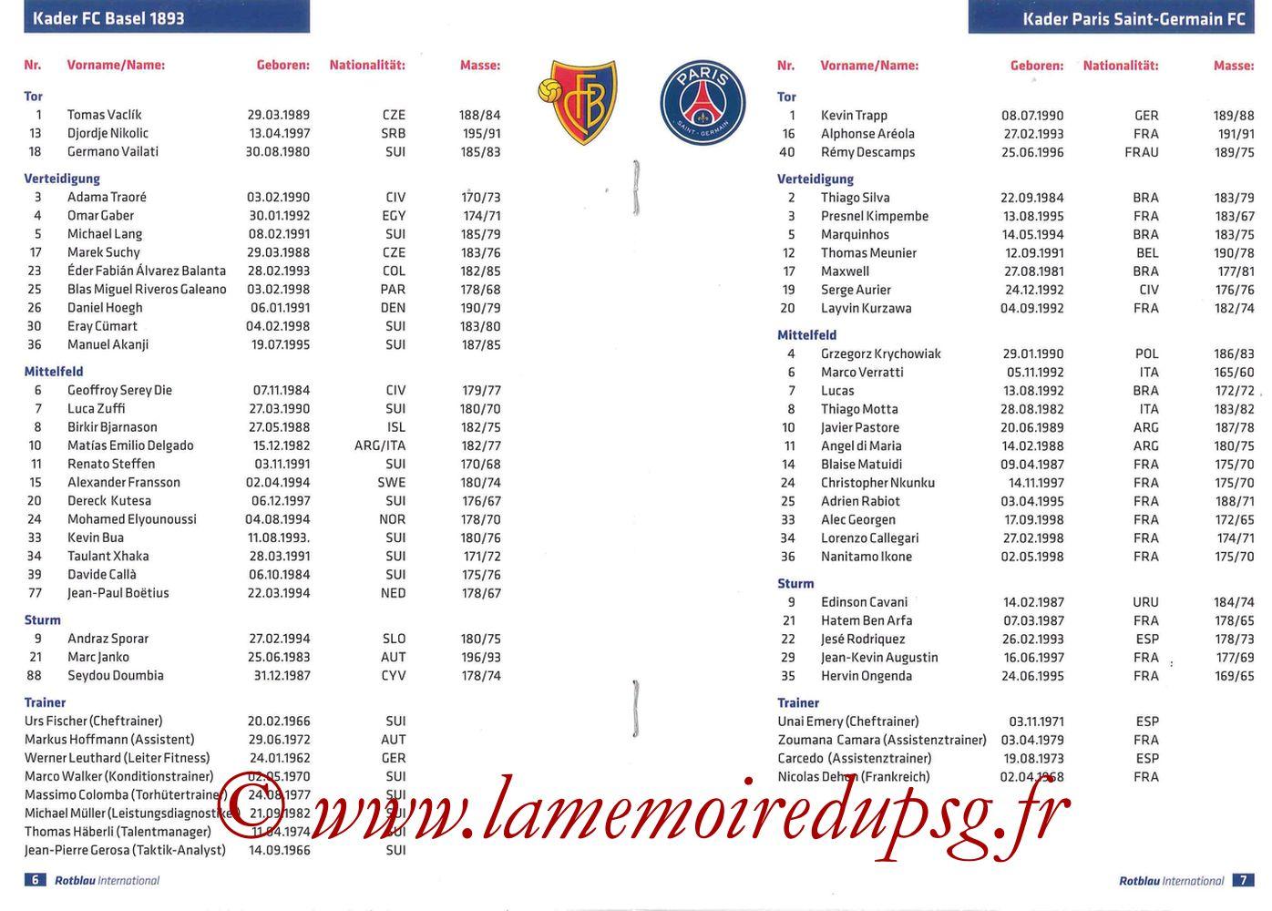 2016-11-01  FC Bale-PSG (4ème C1, Programme officiel) - Pages 06 et 07