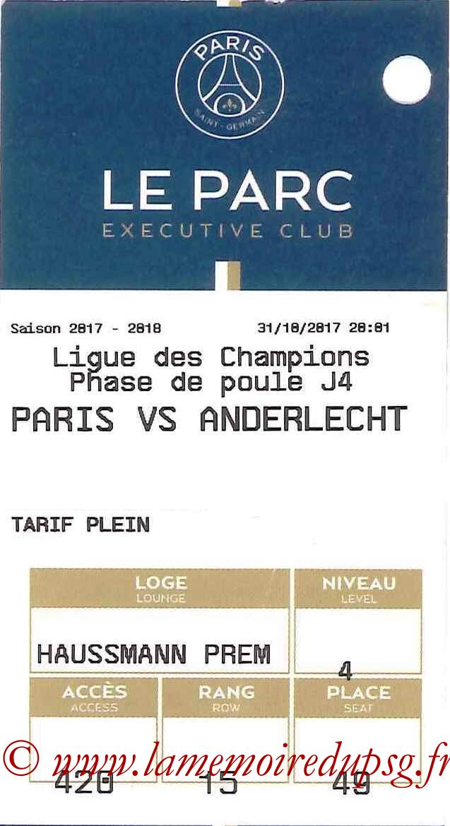 2017-10-31  PSG-Anderlecht (4ème C1, E-ticket Executive club)