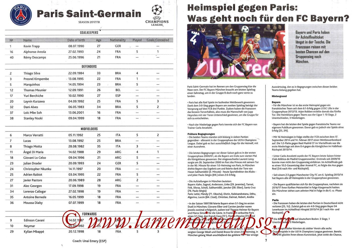 2017-12-05  Bayern Munich-PSG (6ème Poule C1, Programme pirate) - Pages 06 et 07