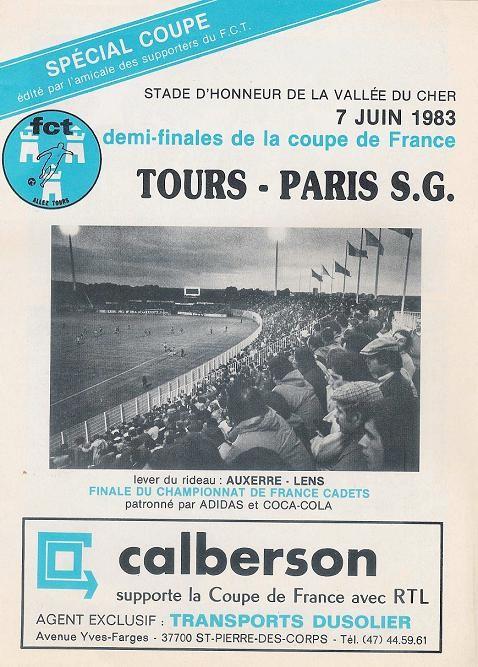 1983-06-07  Tours-PSG (Demi-Finale Retour CF, Programme Officiel)