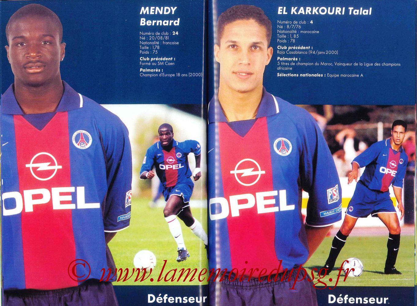 2000-01 - Guide de la Saison PSG - Pages 44 et 45