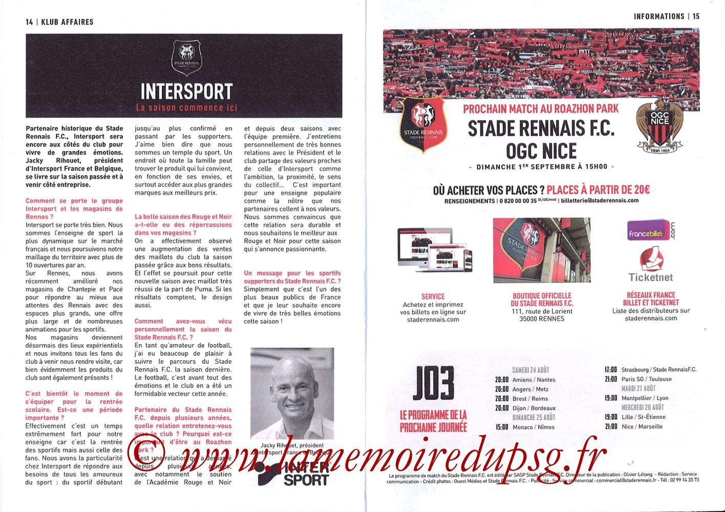 2019-08-18  Rennes-PSG (2ème L1, Programme officiel) - Pages 14 et 15