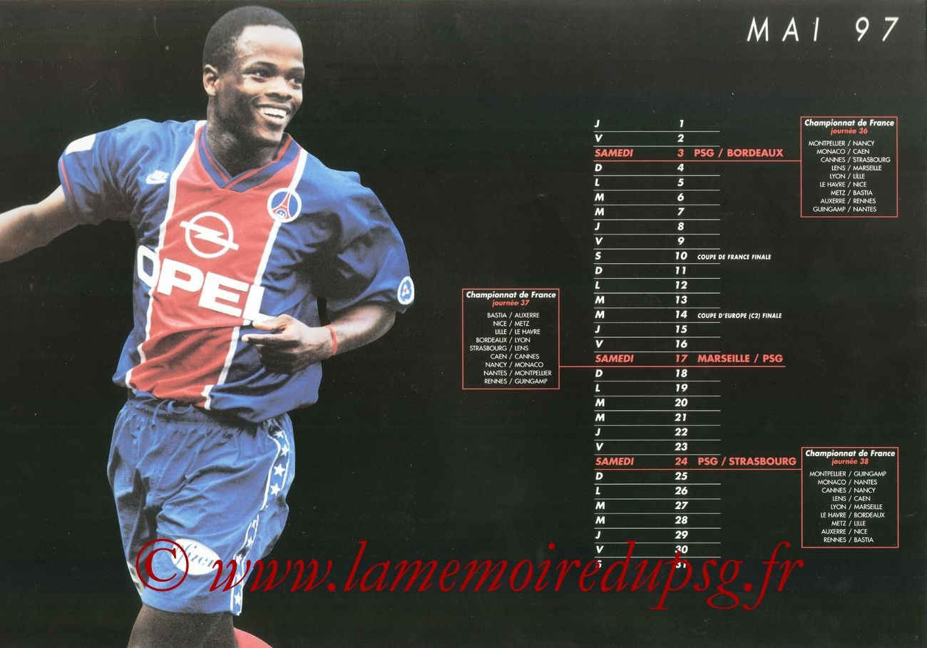 Calendrier PSG 1996-97 - Page 10 - Julio Cesar DELY VALDES