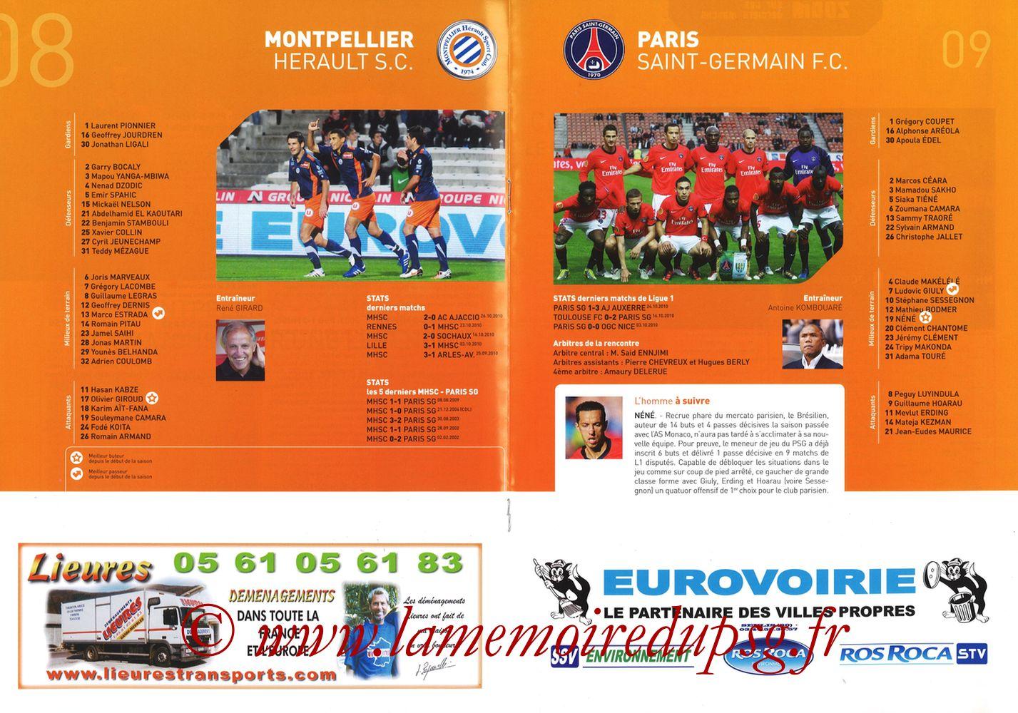 2010-10-31  Montpellier-PSG (11ème L1, L'Echo de la Mosson N°6) - Pages 08 et 09