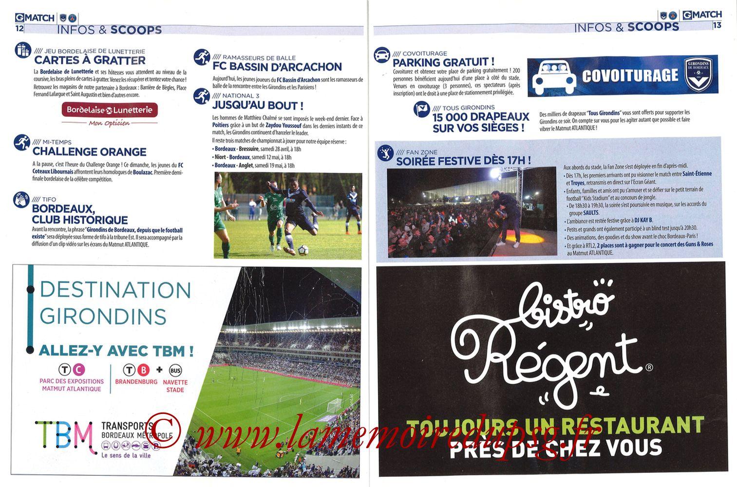 2018-04-22  Bordeaux-PSG (34ème L1, Girondins Match N°59) - Pages 12 et 13