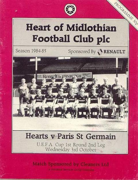 1984-10-03  Heart-PSG (32ème Finale Retour C3, Officiel)