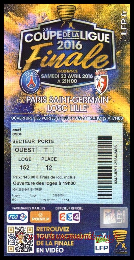 Ticket Finale CL N° 22 - 2016-05-05 - Monaco-Lyon (Stade de France)