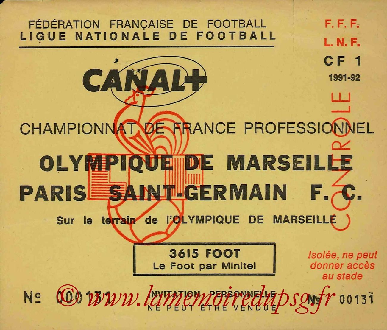 1991-08-09  Marseille-PSG (5ème D1, Invitation)