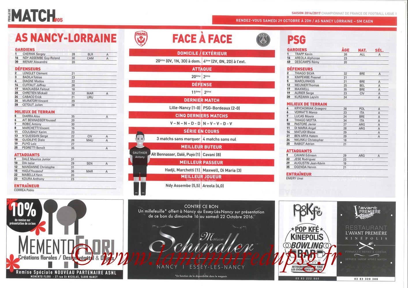 2016-10-15  Nancy-PSG (9ème L1, Feuille de match N°5) - Pages 2 et 3