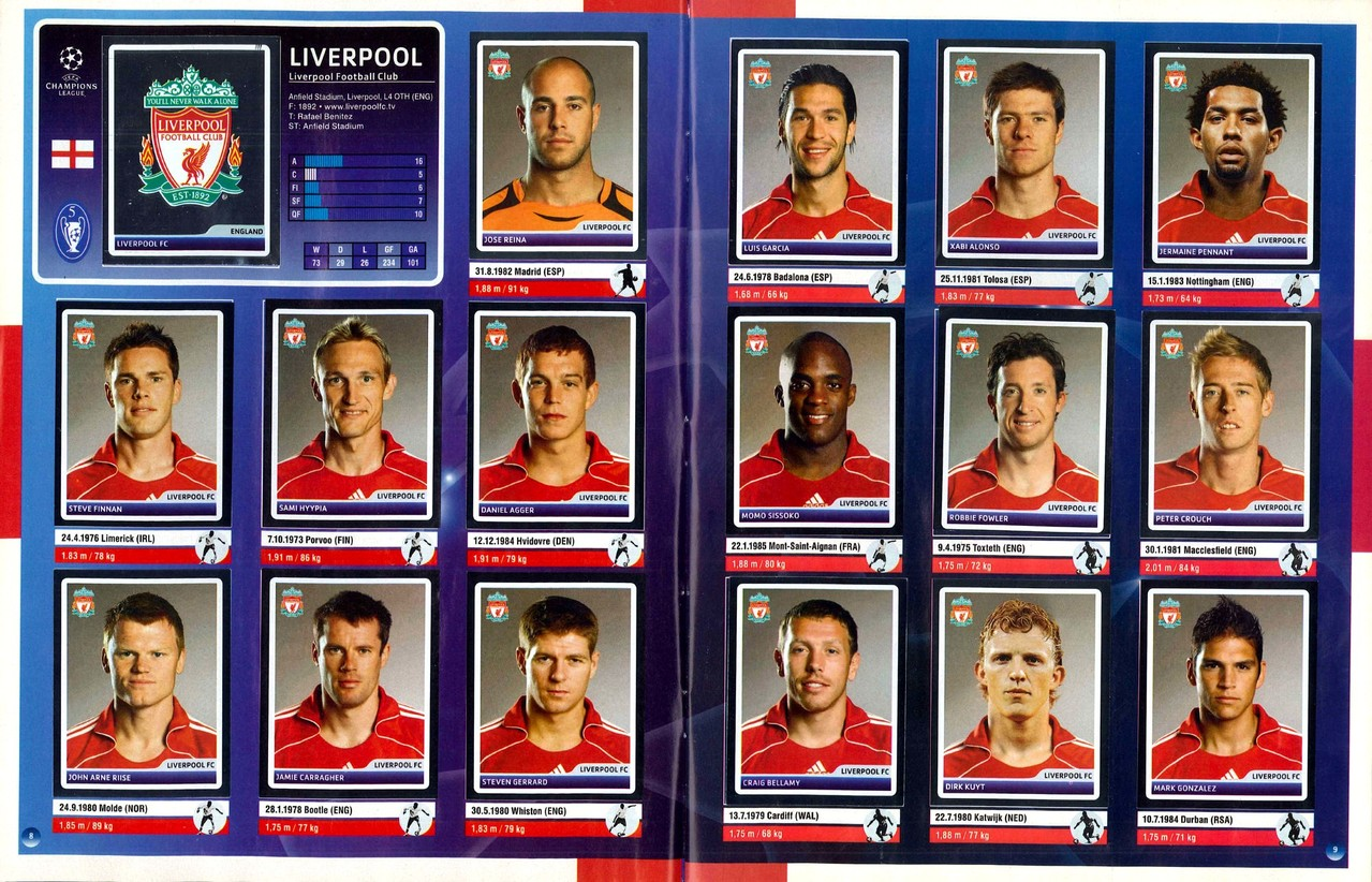 2006-07 - Panini Champions League - Pages 08 et 09 - Liverpool FC