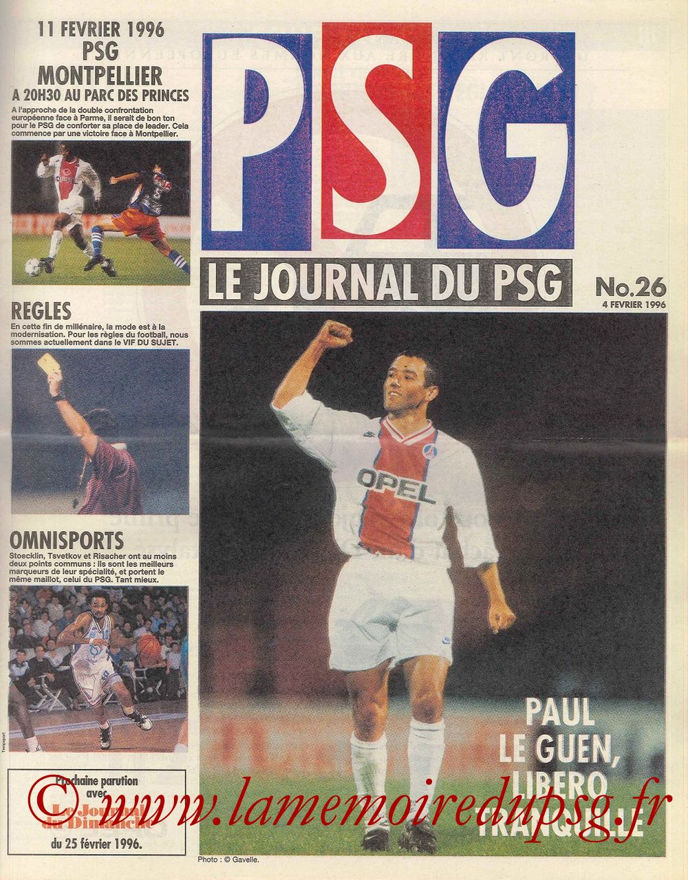 1996-02-11  PSG-Montpellier (27ème D1, Le Journal du PSG N°26)