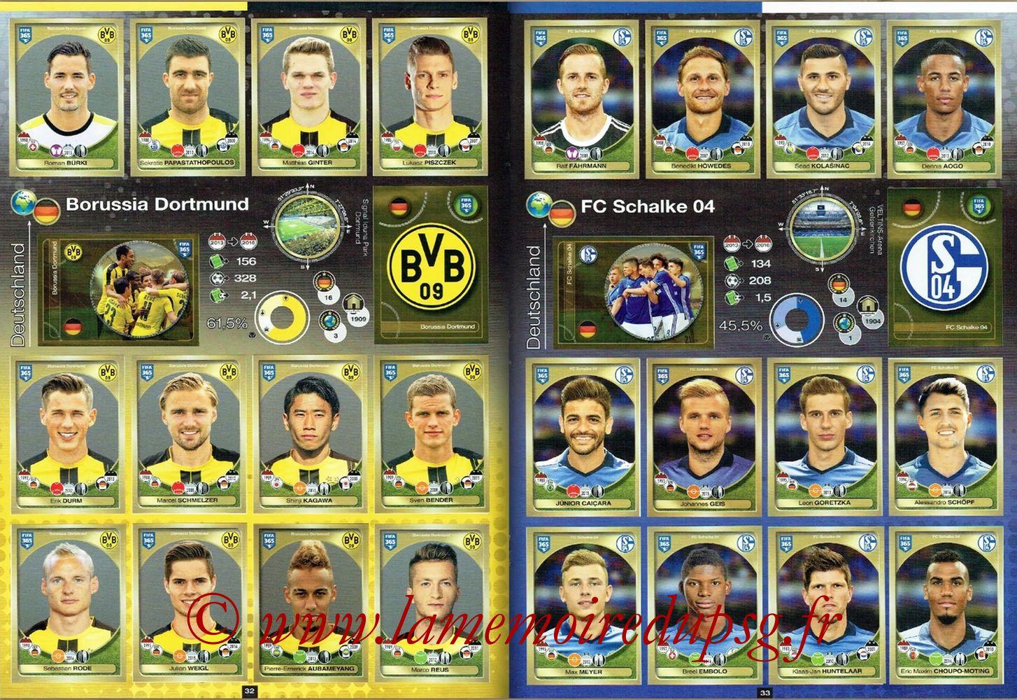 2016-17 - Panini FIFA 365 Stickers - Pages 32 et 33 - Boruissia Dortmund + FC Schalke 04
