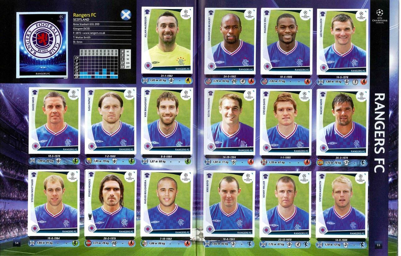 2009-10 - Panini Champions League - Pages 54 et 55 - Rangers FC