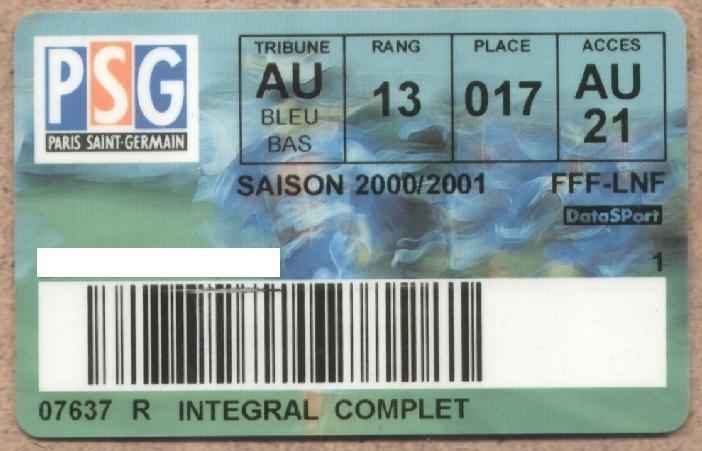 Carte d'abonné PSG 2000-01
