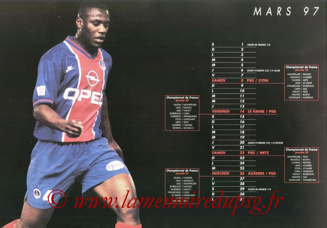 Calendrier PSG 1996-97 - Page 08 - Bruno N'GOTTY