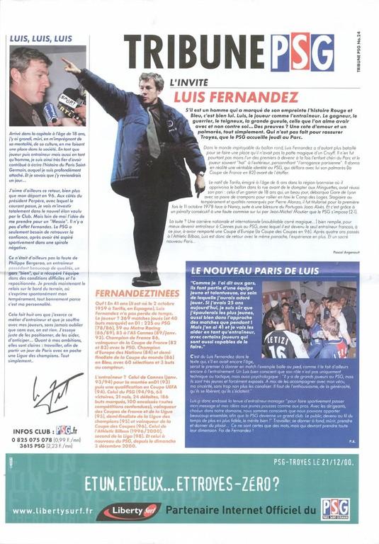 2000-12-22  PSG-Troyes (22ème D1, Tribune PSG N°24)