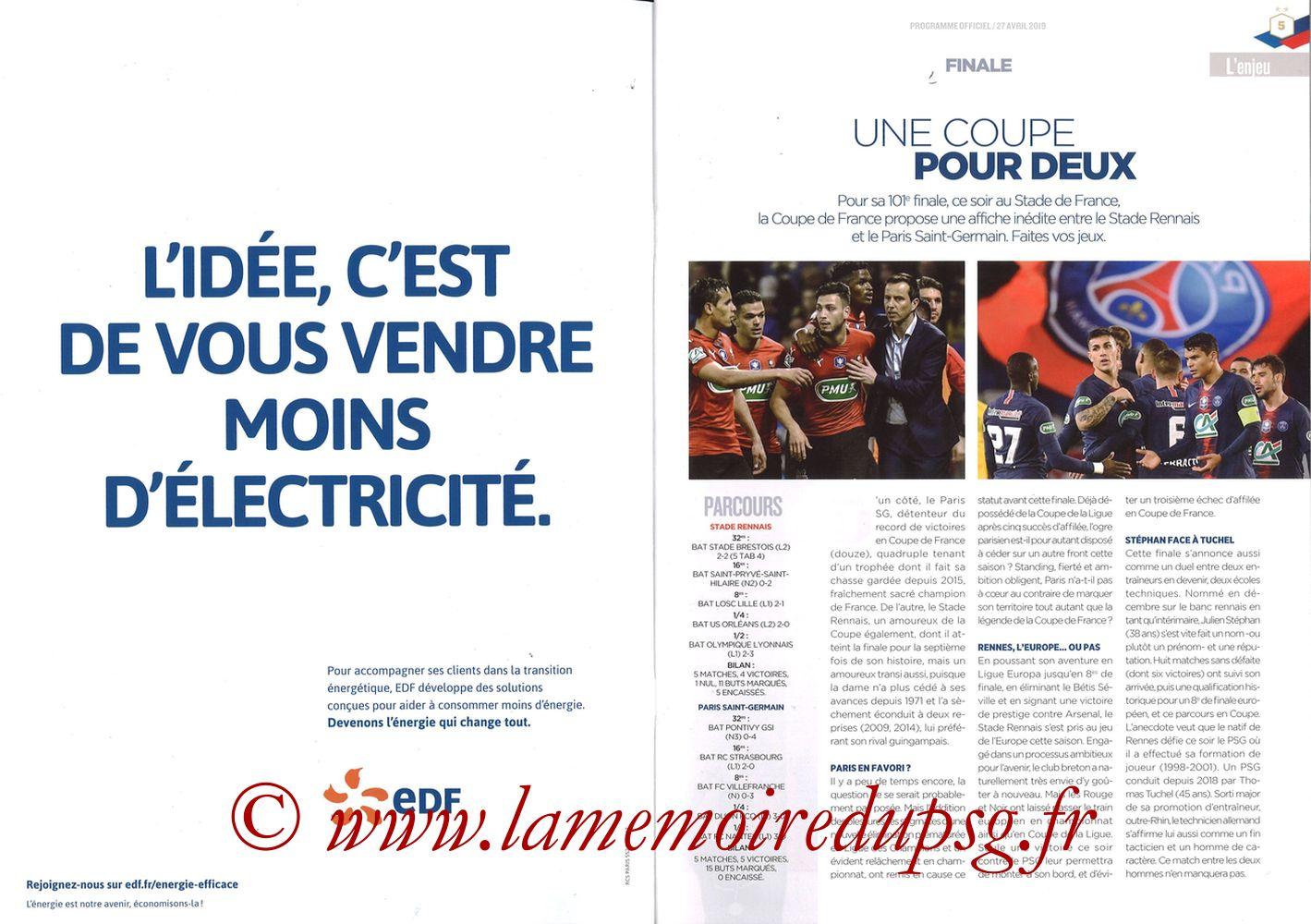 2019-04-27  Rennes-PSG (Finale CF au Stade de France, Programme officiel FFF) - Pages 04 et 05