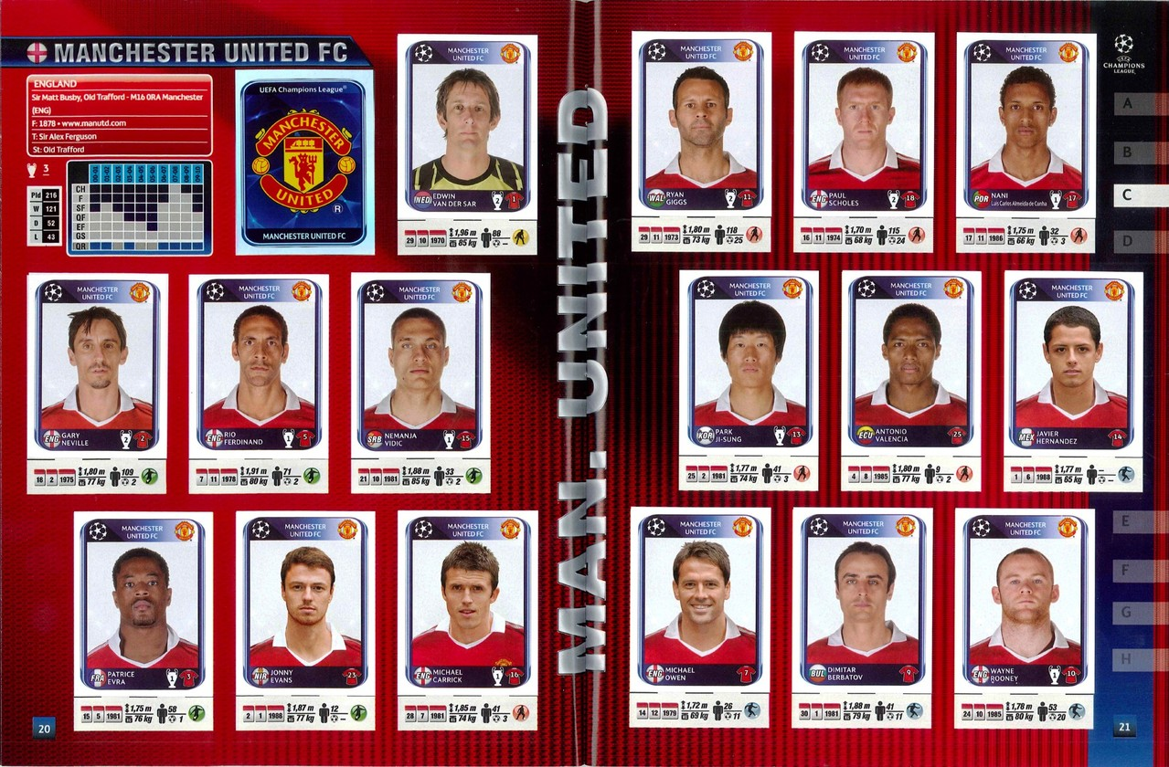 2010-11 - Panini Champions League - Pages 20 et 21 - Manchester United FC