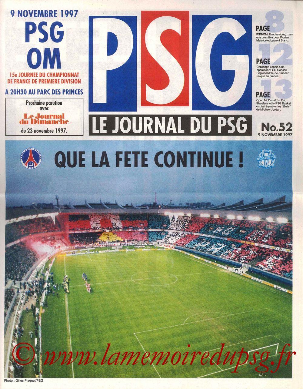 1997-11-09  PSG-Marseille (15ème D1, Le Journal du PSG N°52)
