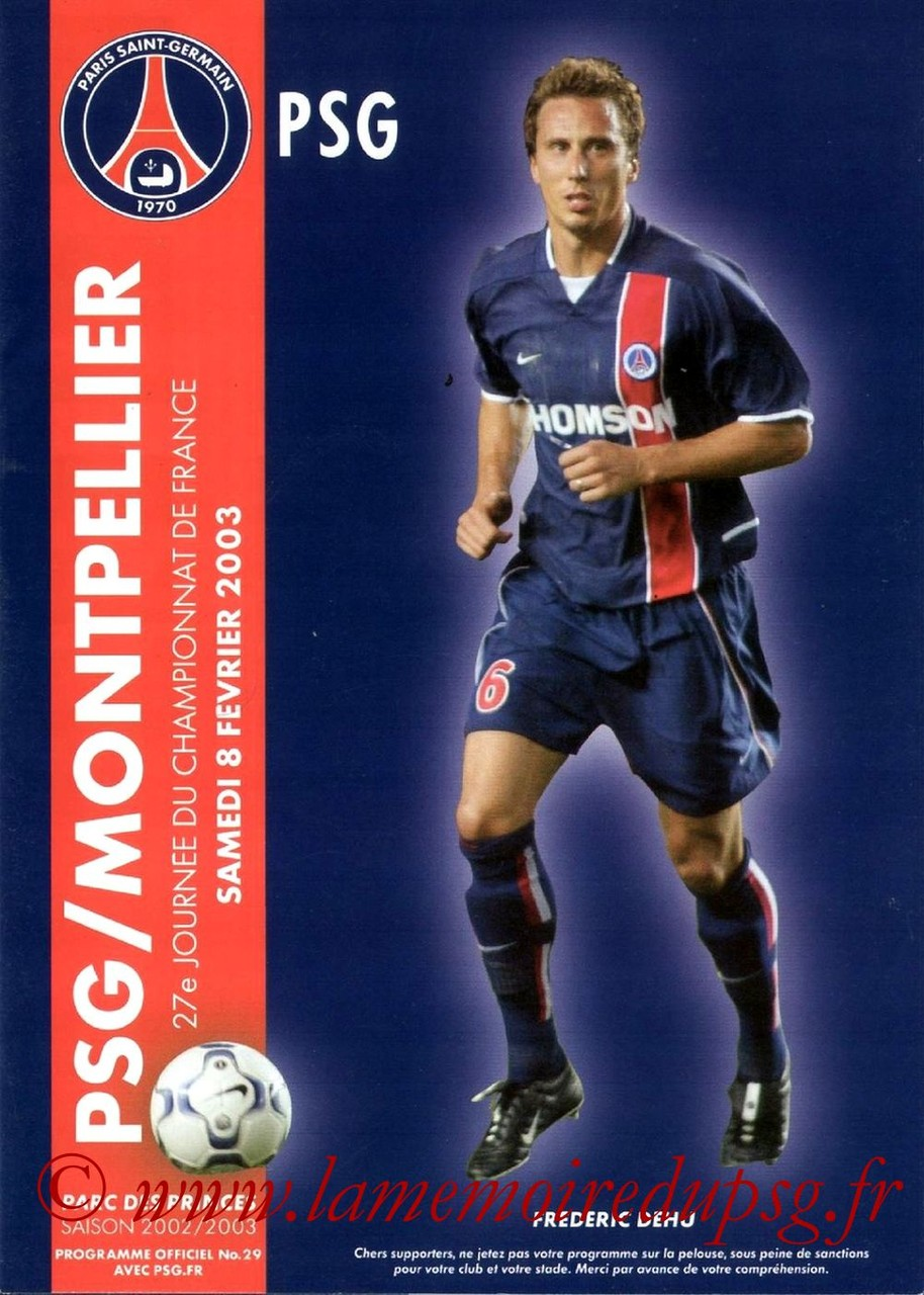 2003-02-08  PSG-Montpellier (27ème D1, Programme officiel N°29)