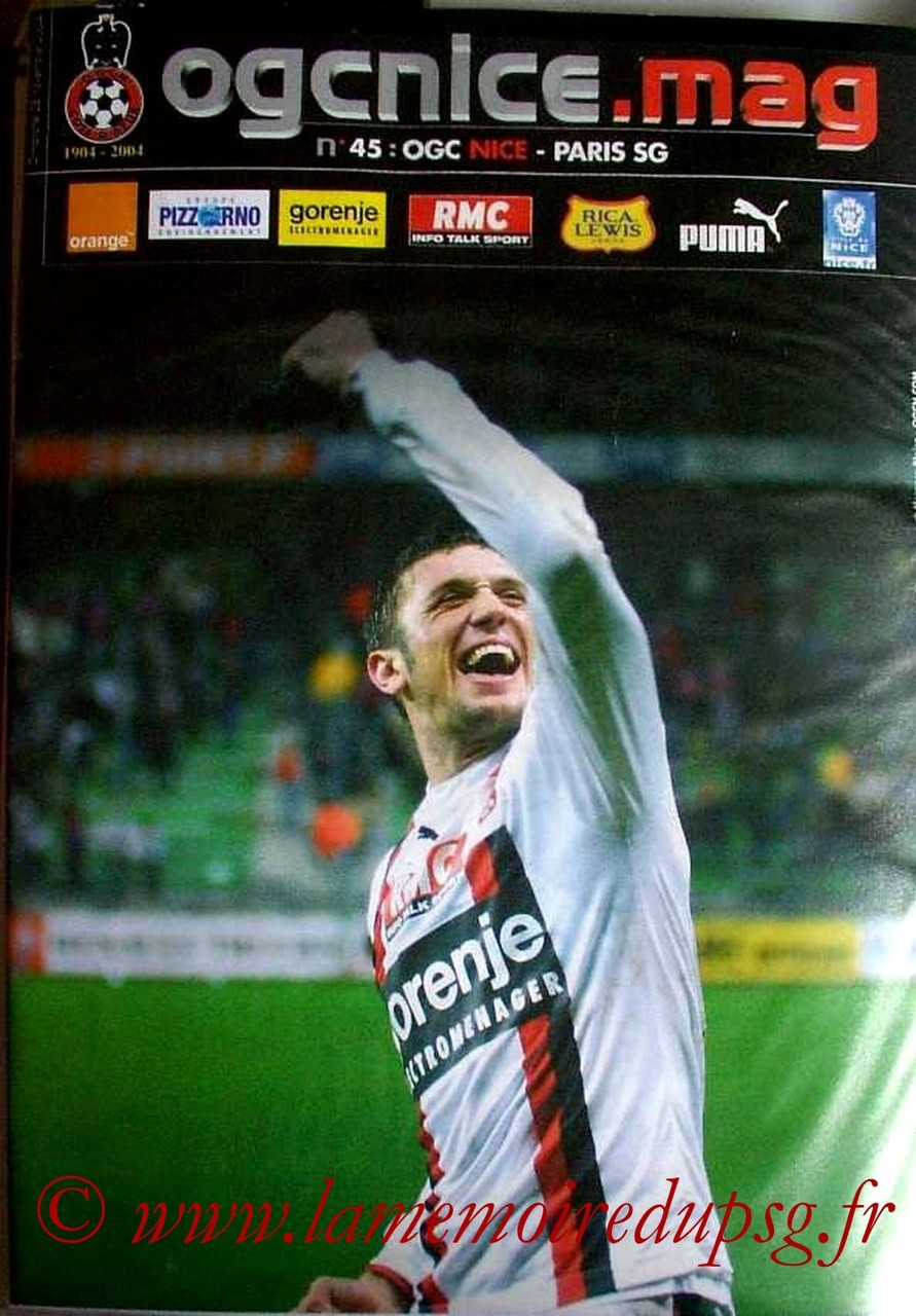 2004-11-28  Nice-PSG (16ème L1, OGC Nice Mag N°45)