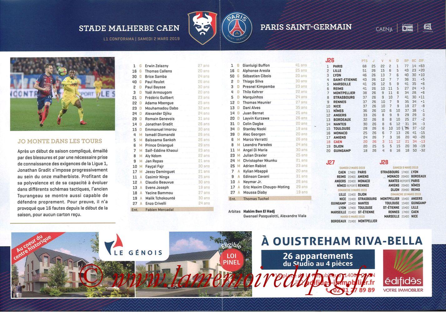 2019-03-02  Caen-PSG (27ème L1, Programme officiel) - Pages 02 et 03