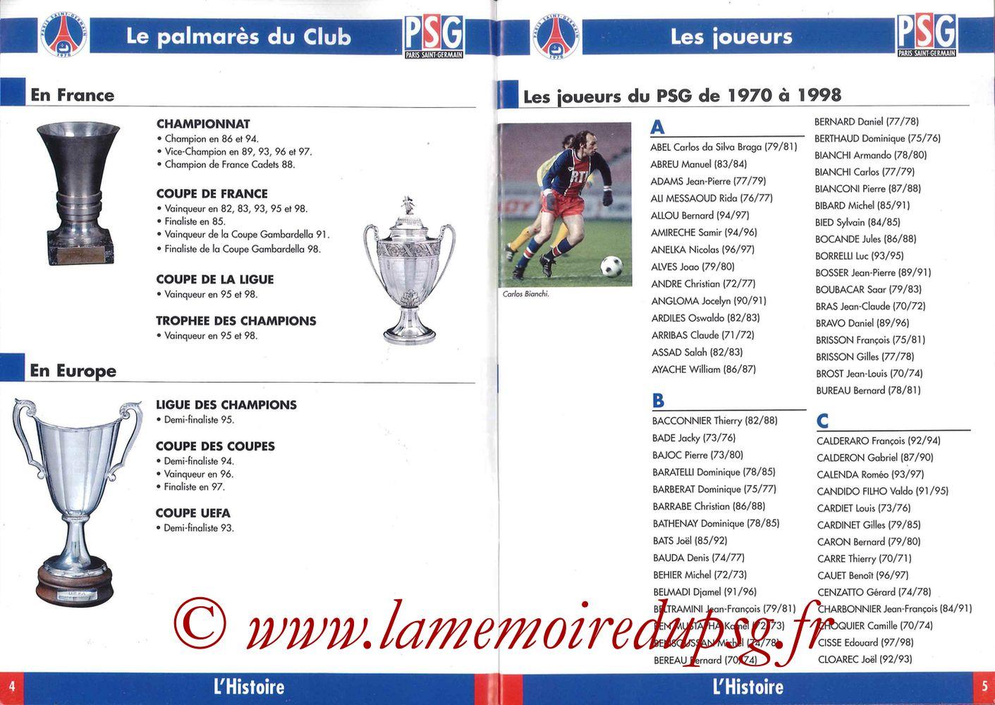 1998-99 - Guide de la Saison PSG - Pages 04 et 05