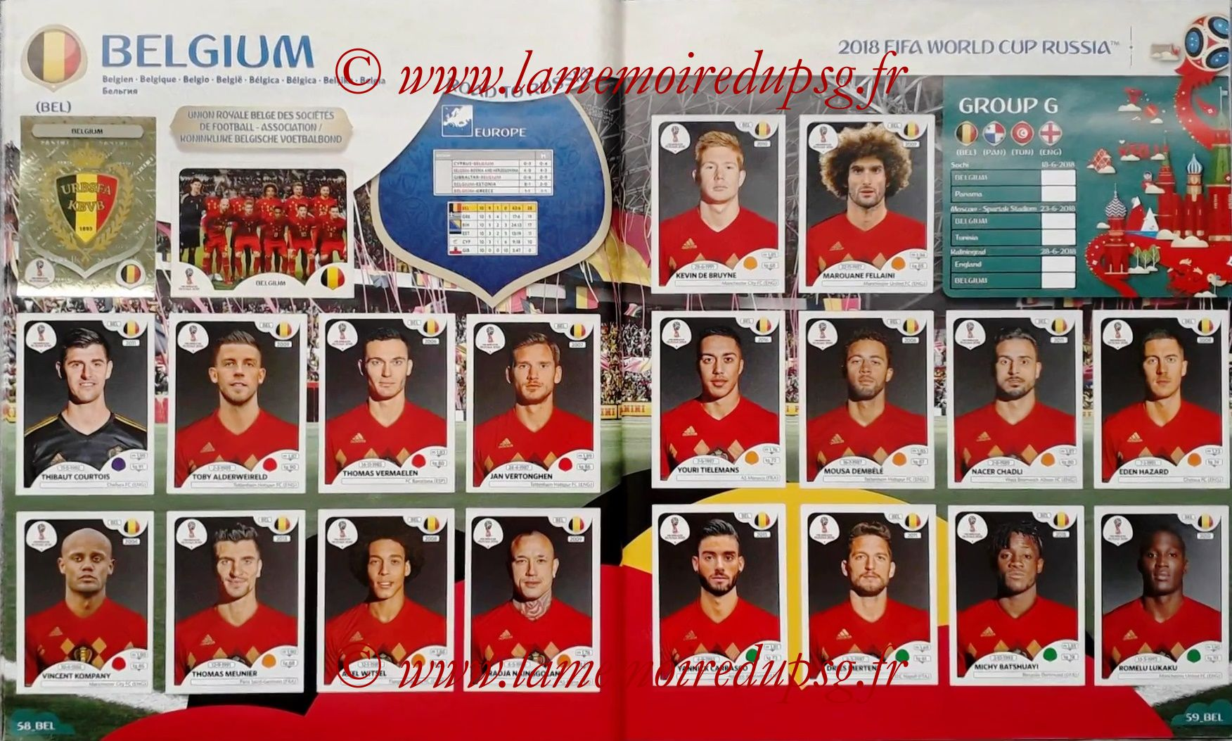 2018 - Panini FIFA World Cup Russia Stickers - Pages 58 et 59 - Belgique