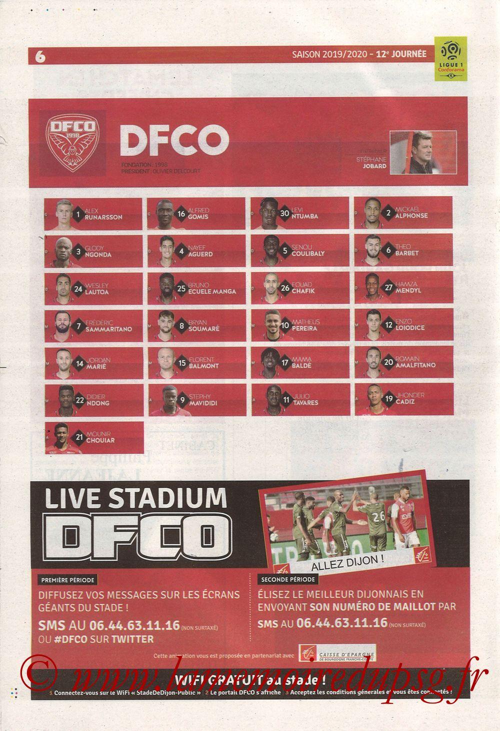 2019-11-01  Dijon-PSG (12ème L1, Chouett Infos) - Page 06