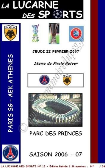 2007-02-22  PSG-AEK Athènes (16ème Finale Retour C3, la lucarne des sports N°12)