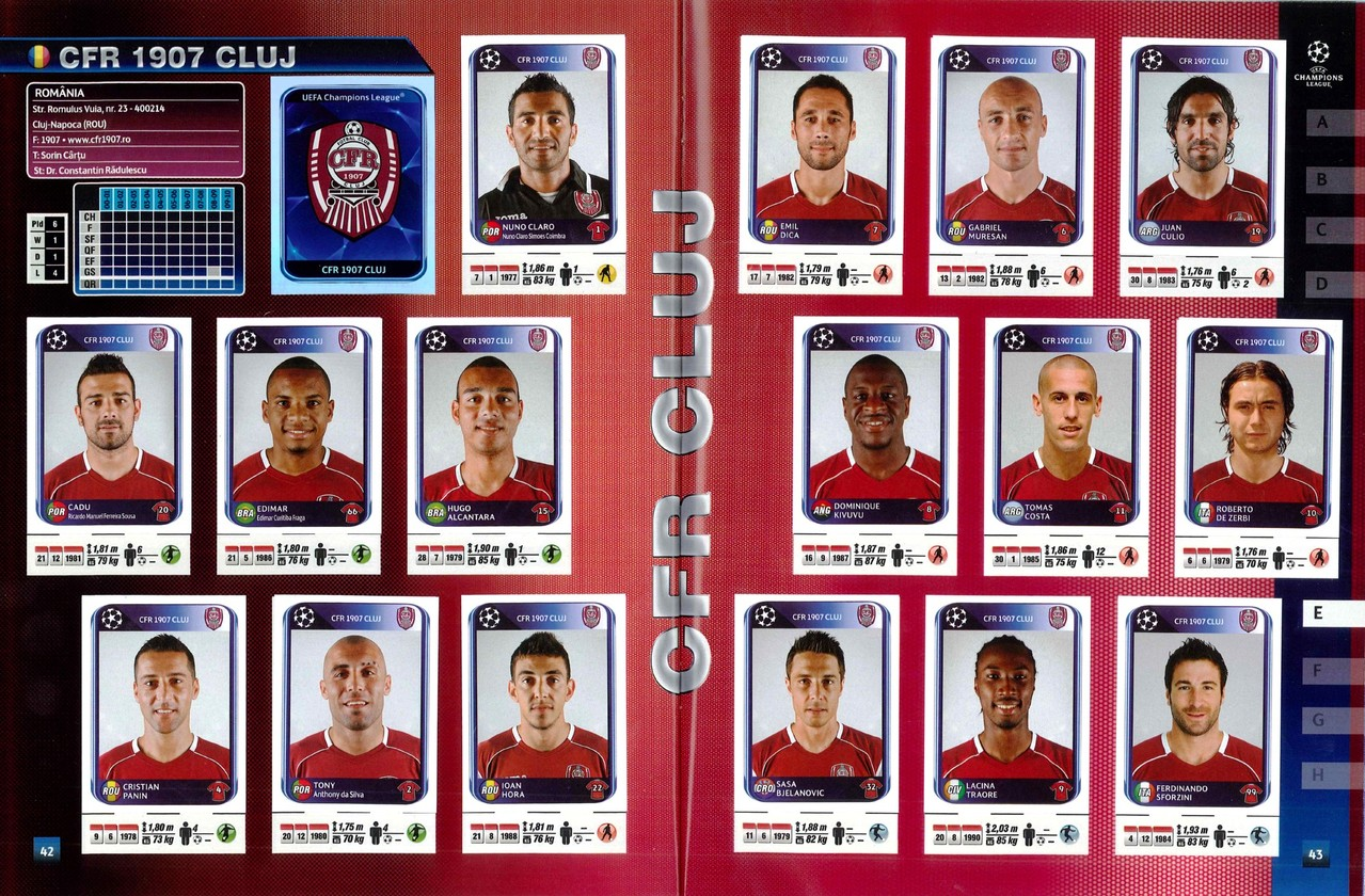 2010-11 - Panini Champions League - Pages 42 et 43 - CFR 1904 Cluj