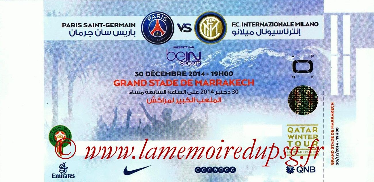 2014-12-30  Inter Milan-PSG (Amical à Marrakech)