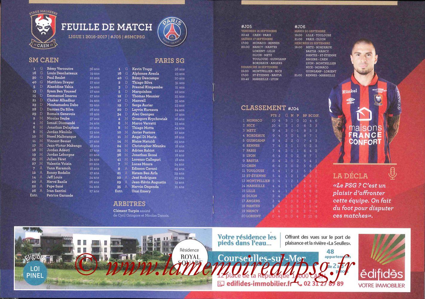 2016-09-16  Caen-PSG (5ème L1, Programme officiel) - Pages 06 et 07