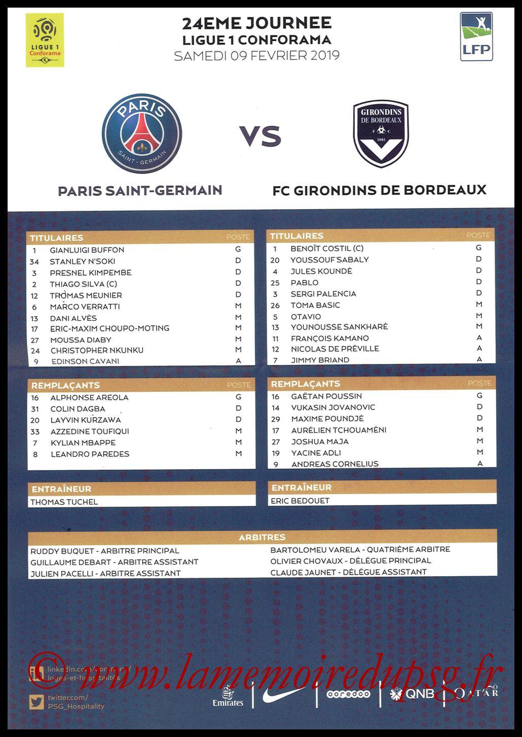 2019-02-09  PSG-Bordeaux (24ème L1, feuille de match)