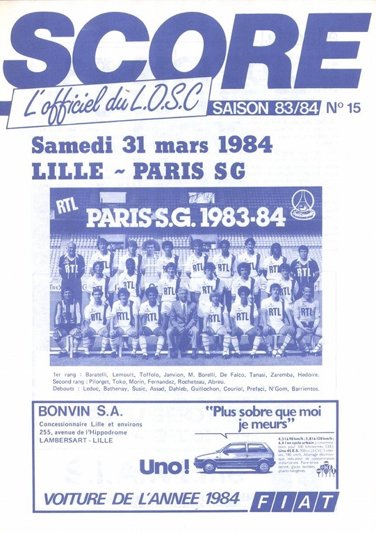 1984-03-31  Lille-PSG (33ème D1, Score N°15)