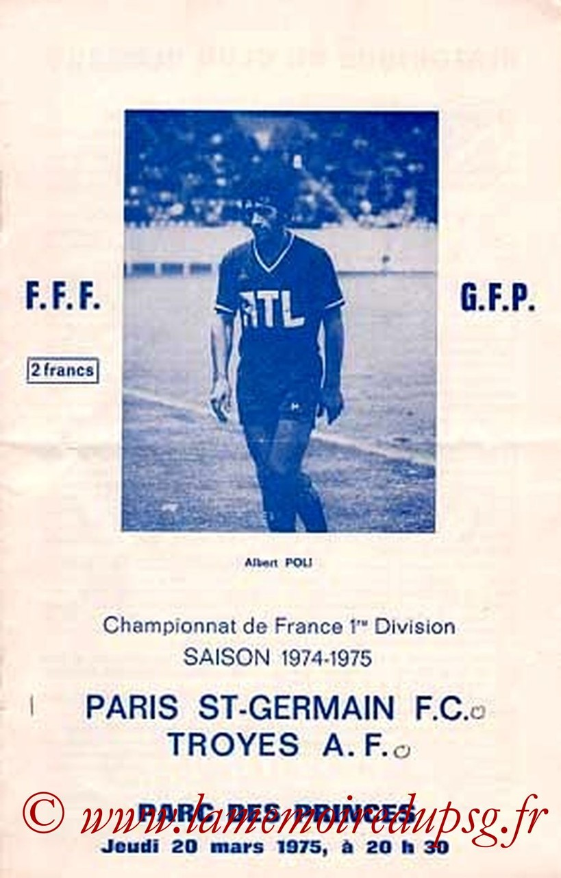 1975-03-20  PSG-Troyes (31ème D1, Officiel PSG, Collection JNT)
