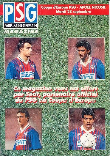 1993-09-28  PSG-Apoel Nicosie (16ème Aller C2, PSG Magazine N° HS)
