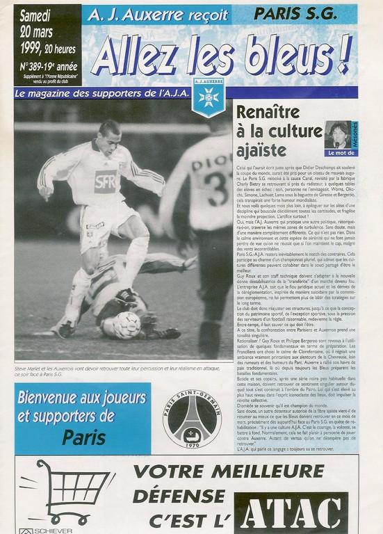 1999-03-20  Auxerre-PSG (27ème D1, Allez les Bleus N°389)