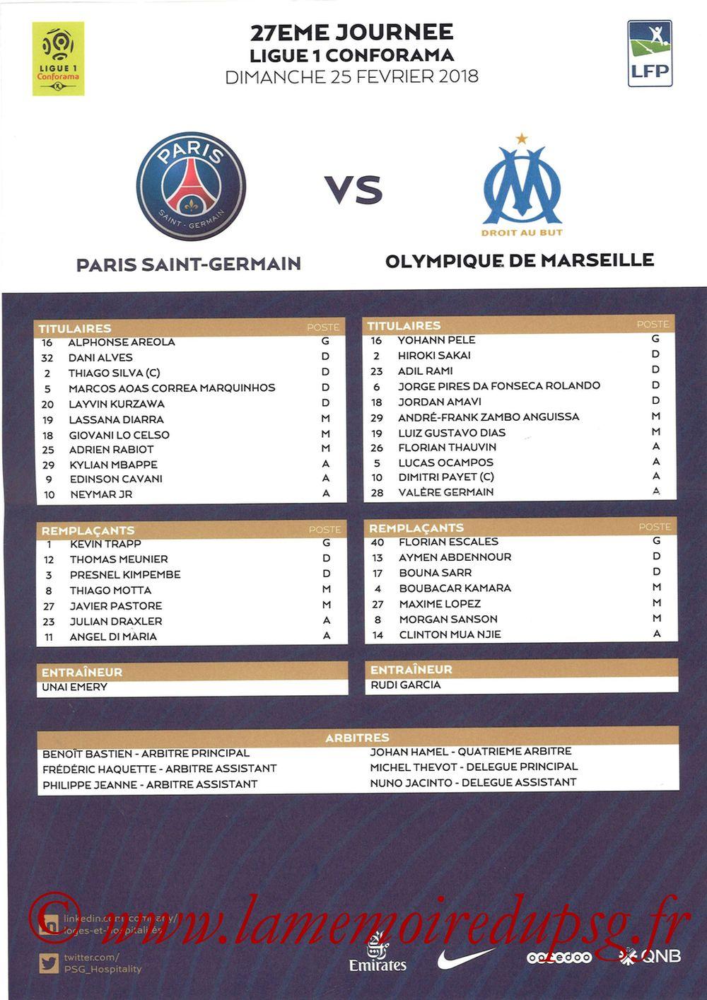 2018-02-25  PSG-Marseille (27ème L1, Feuille de match)