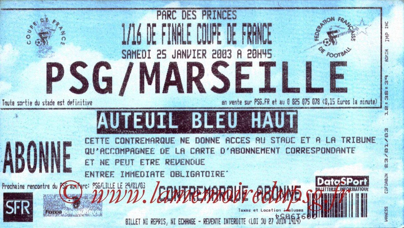 2003-01-25  PSG-Marseille (16ème Finale CF, bis)
