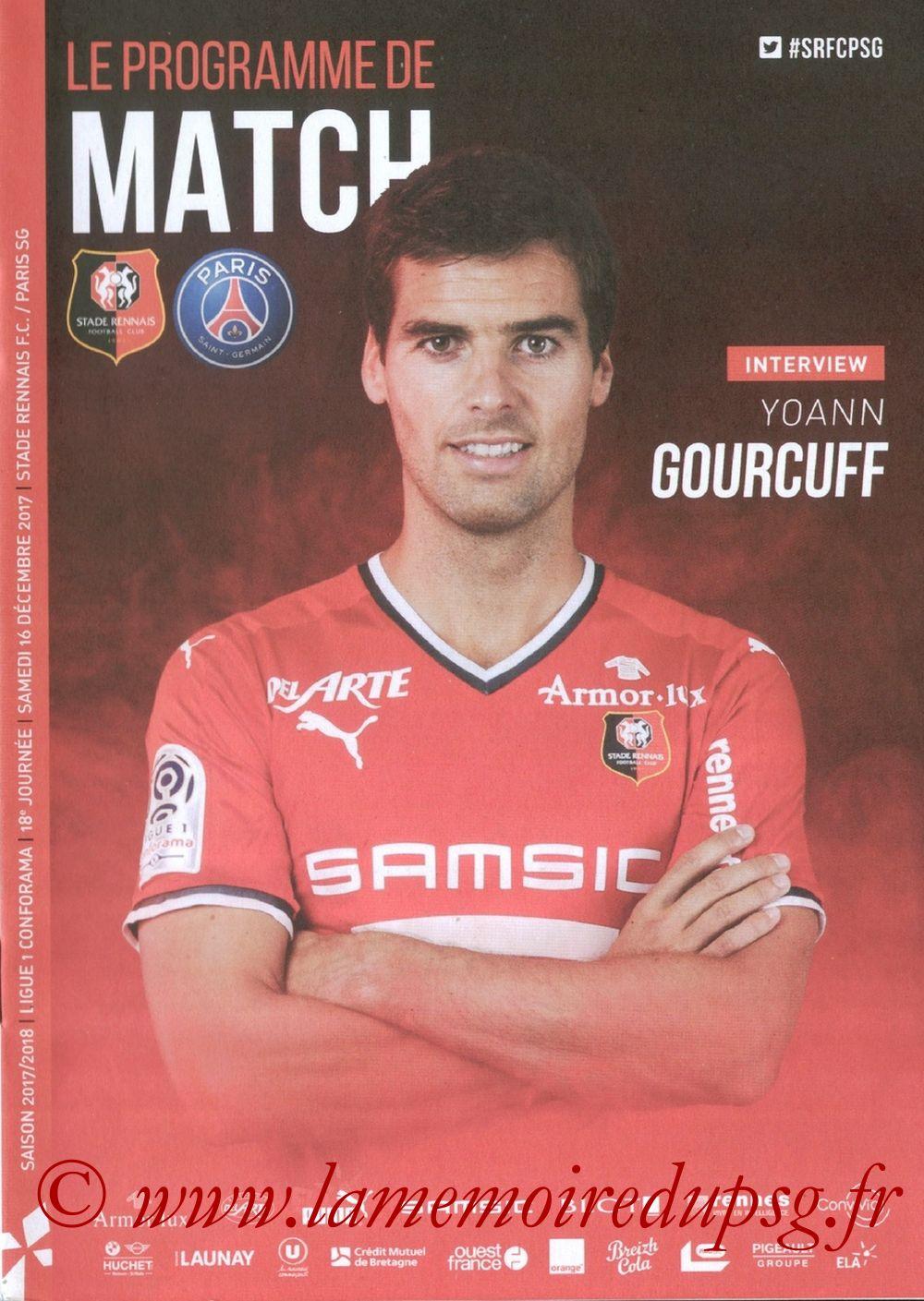 2017-12-16  Rennes-PSG (18ème L1, Le Programme de match)