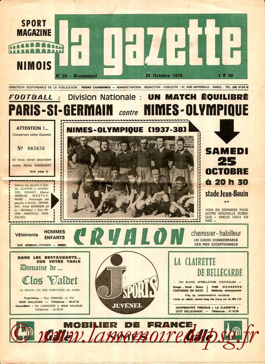 1975-10-25  Nimes-PSG (11ème D1, La Gazette N°20)