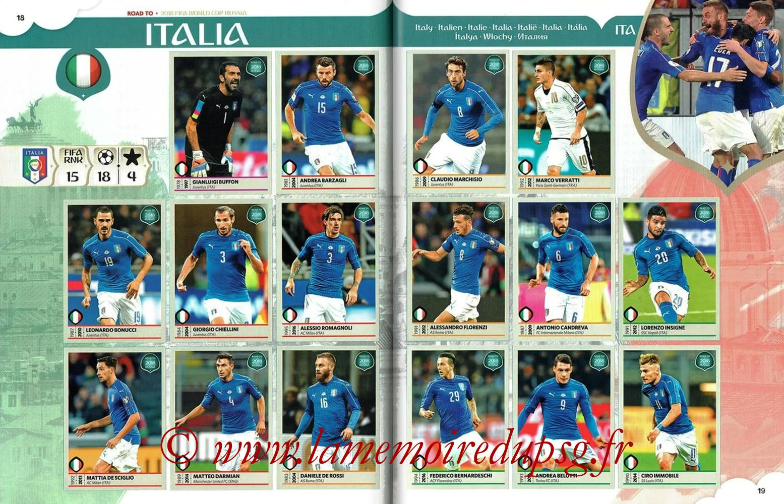 2018 - Panini Road to FIFA World Cup Russia Stickers - Pages 18 et 19 - Italie