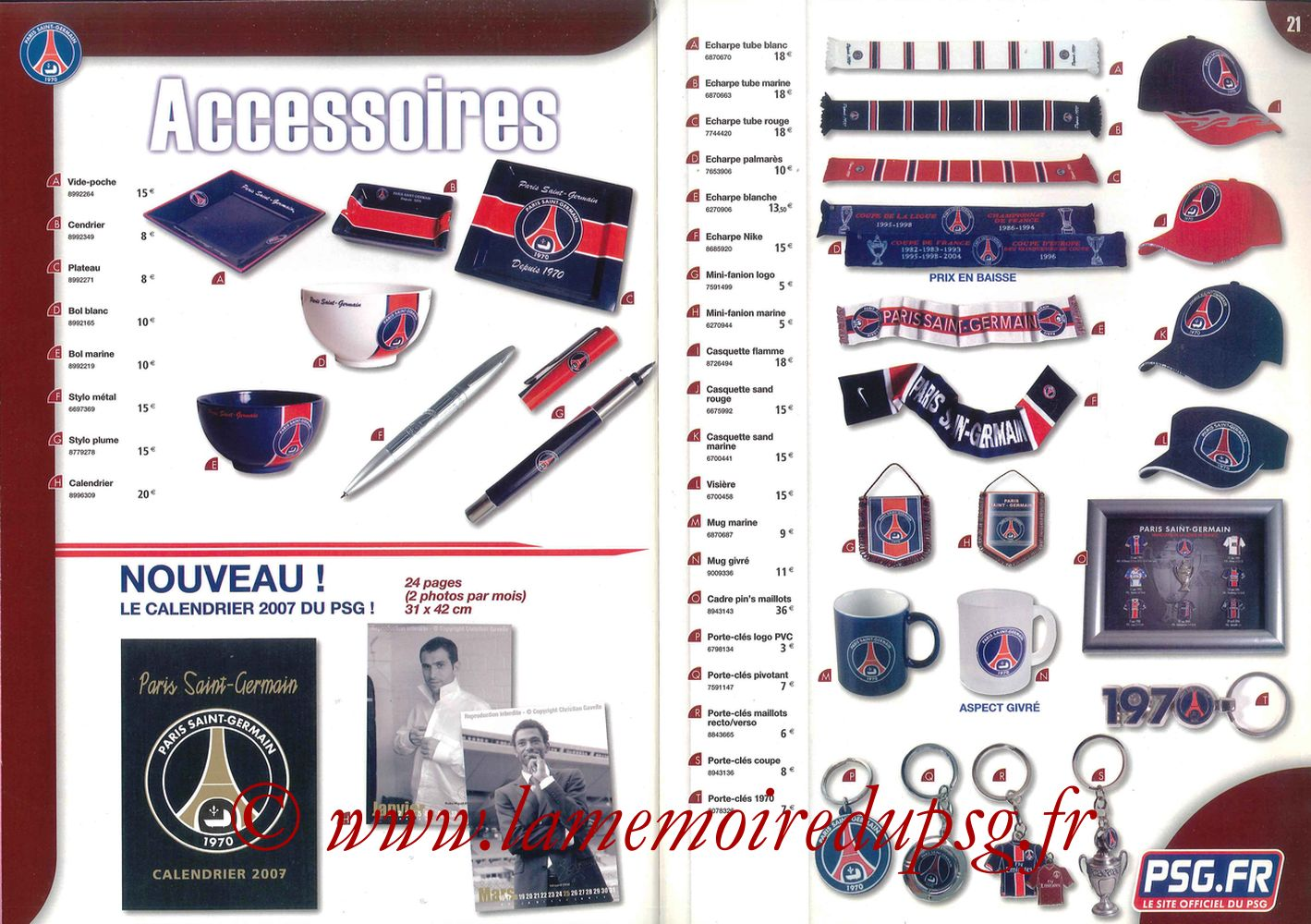 Catalogue PSG - 2006-07 - Pages 20 et 21